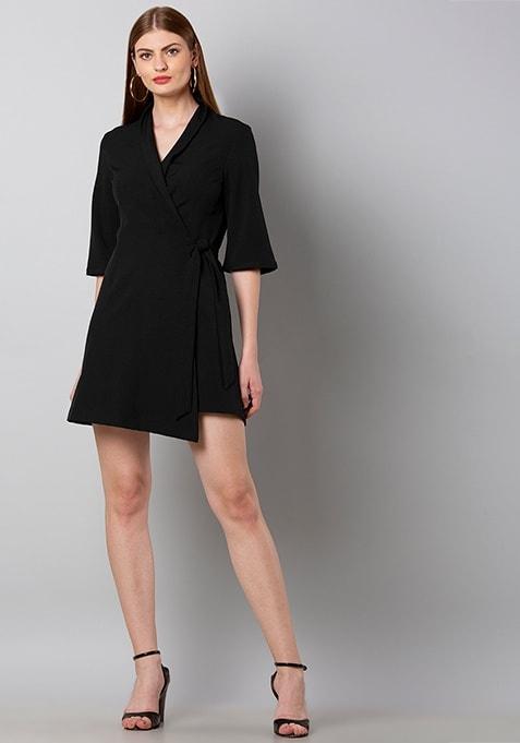 Black Notch Collar Tuxedo Wrap Dress