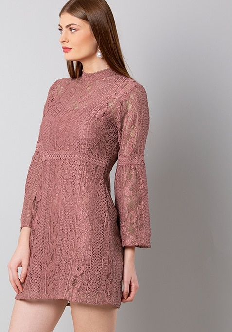 Dusty Pink Bell Sleeved Lace Dress