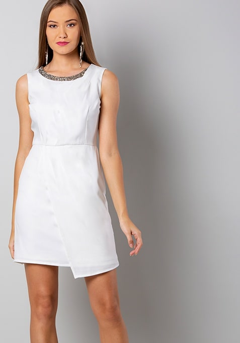 White Embellished Pleated Shift Dress