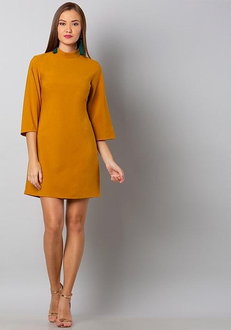 Mustard Hi-Neck Shift Dress