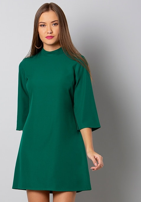 Green Hi-Neck Shift Dress