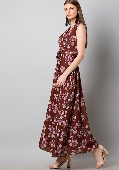 Maroon Floral Wrap Maxi Dress