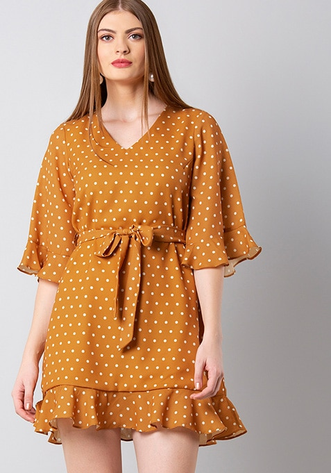 Mustard Polka Belted Shift Dress