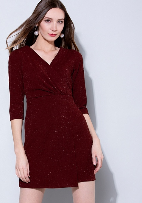 Wine Crossover Yoke Dress