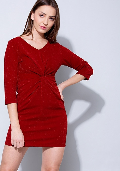 Red Knotted Shimmer Bodycon Dress
