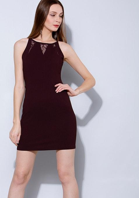 Wine Lace Insert Strappy Bodycon Dress