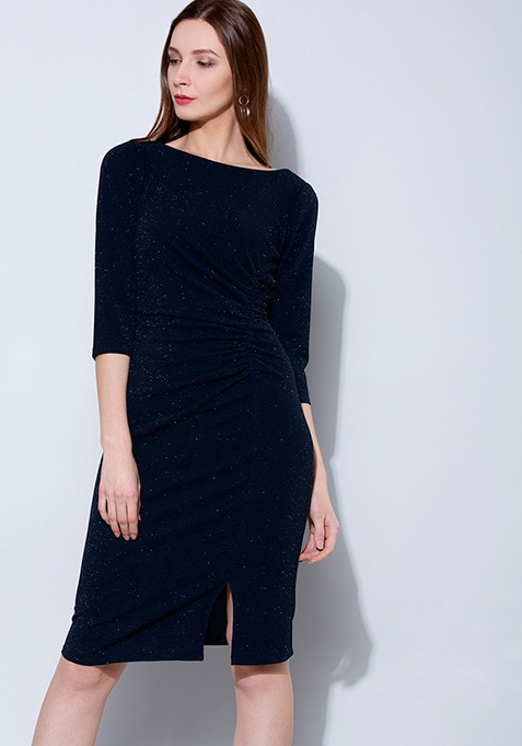 Navy Shimmer Ruched Bodycon Dress