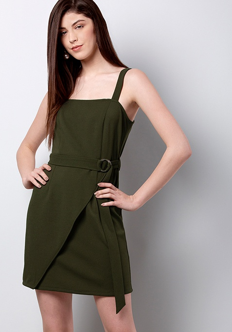 Olive Belted Strappy Mini Dress