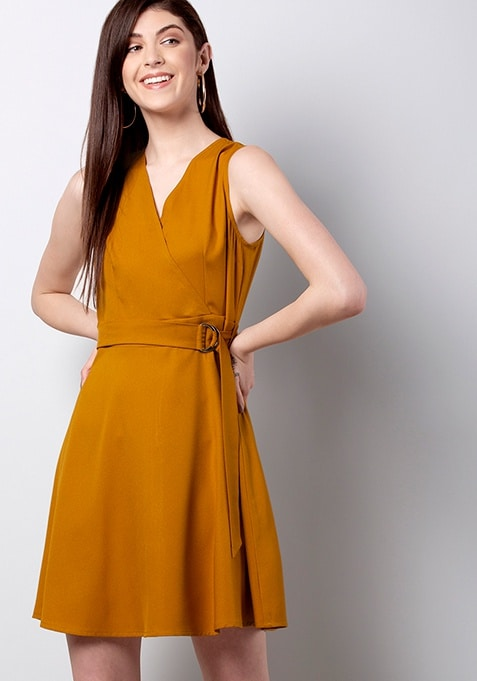 Mustard Buckle Belt Skater Dress