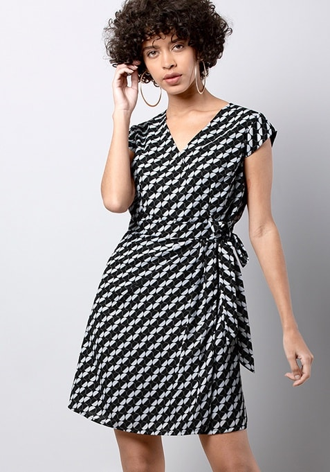 Black Geo Side Tie-Up Dress