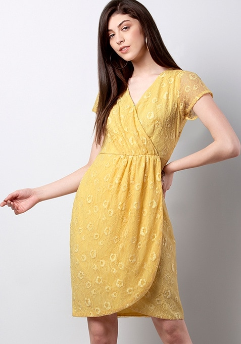 Yellow Wrap Gathered Lace Dress