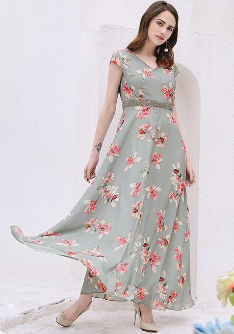 Grey Floral Crochet Waist Maxi Dress