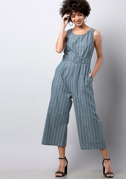 Blue Striped Belted Jumpsuit