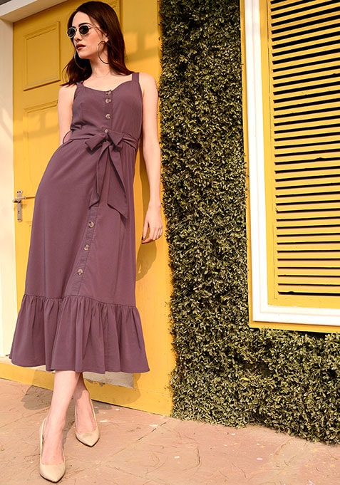 Pink Strappy Belted Ruffled Midi Dress