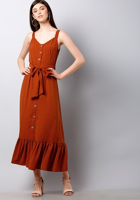 Rust Strappy Belted Ruffled Midi Dress