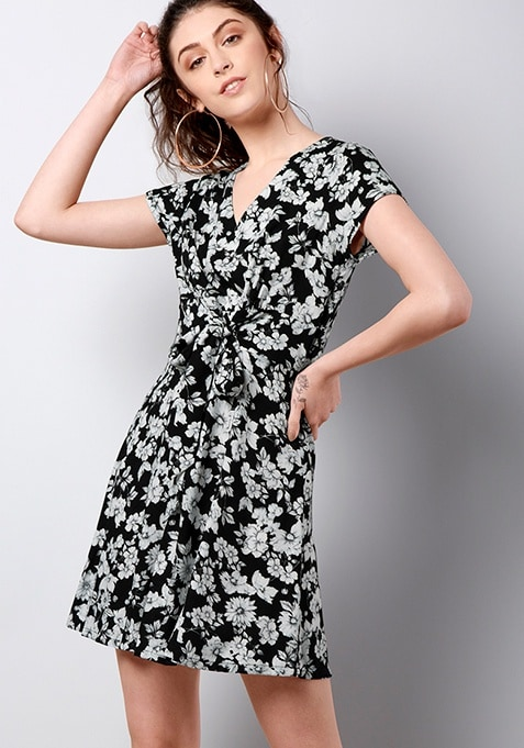 Black Floral Belted Front Skater Dress