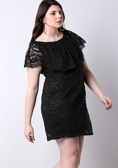 Black Cape Lace Dress
