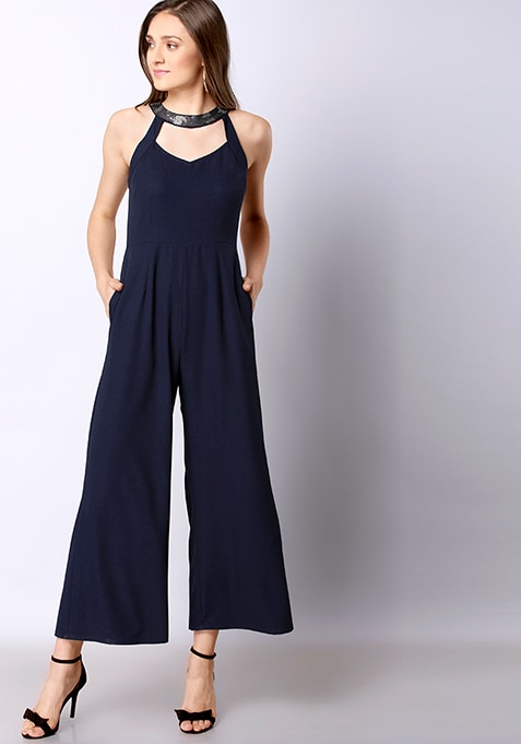 Navy Embellished Neck Halter Jumpsuit