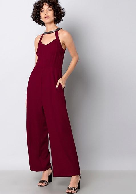 Maroon Halter Neck Embellished Jumpsuit