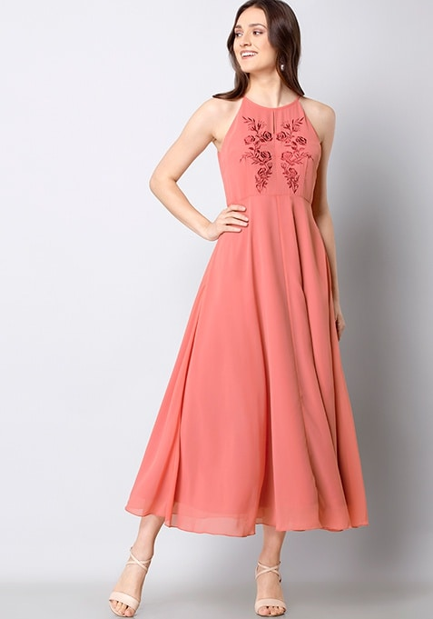 Dusty Pink Embroidered Maxi Dress