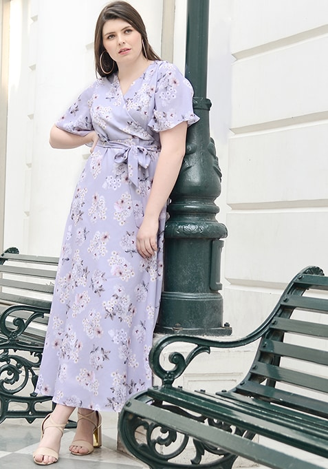 ALL Lilac Floral Belted Wrap Maxi Dress