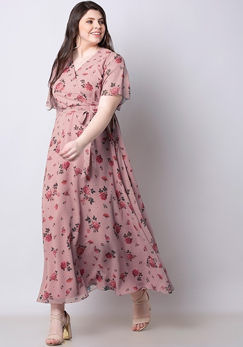 ALL Pink Floral Belted Wrap Maxi Dress