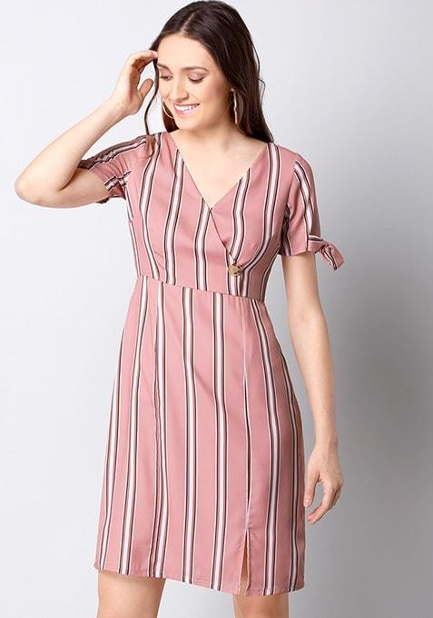 Pink Striped Wrap Midi Dress