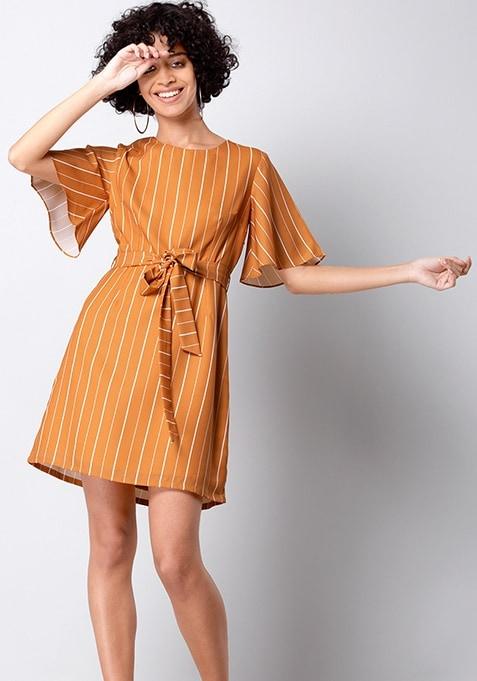 Mustard Striped Flared Sleeve Dress