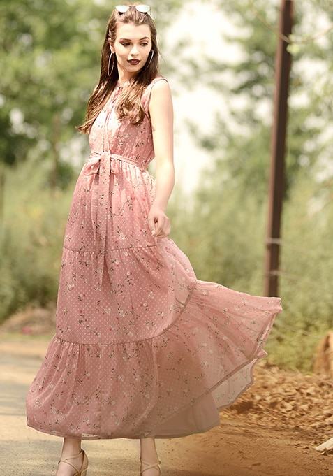 dc4f9fdfbd Buy Women Pink Floral Tiered Maxi Dress - Maxi Dresses Online India ...
