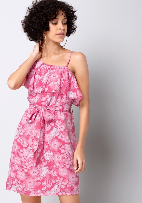 Coral Floral One Shoulder Ruffle Dress