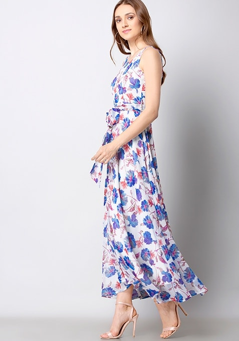 White Blue Floral Belted Maxi Dress
