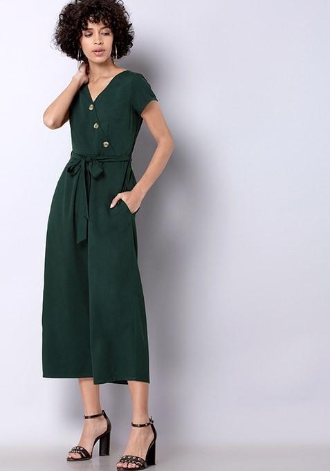 Teal Asymmetric Buttoned Jumpsuit