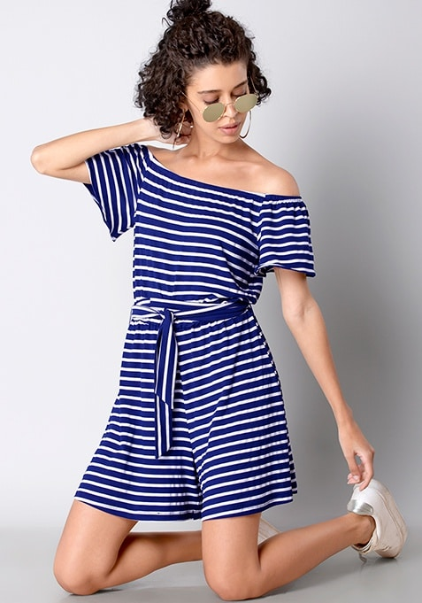 BASICS Blue-White Striped Off Shoulder Playsuit