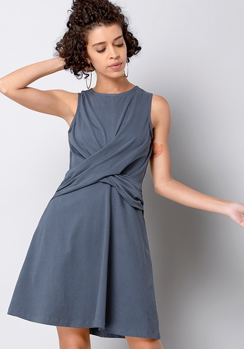 BASICS Grey Draped Skater Dress