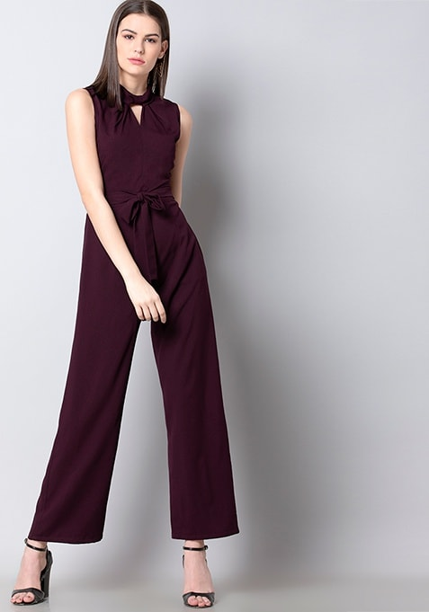 Wine Roll Neck Belted Jumpsuit