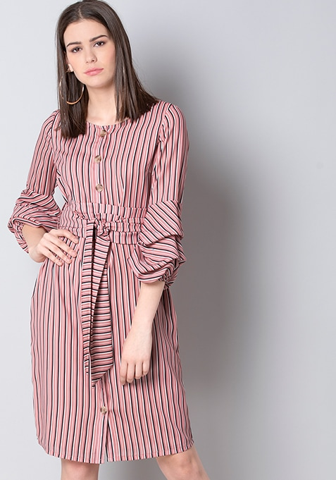 Pink Stripe Belted Shirt Dress