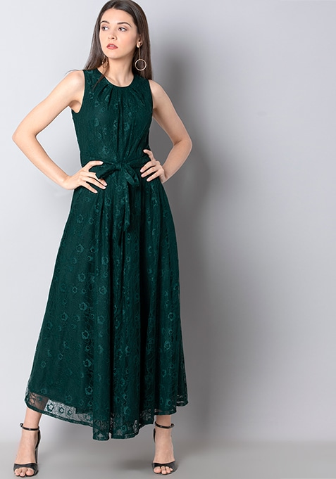 Teal Gathered Neck Lace Maxi Dress