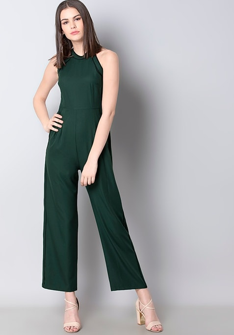Teal Contrast Piping Halter Neck Jumpsuit