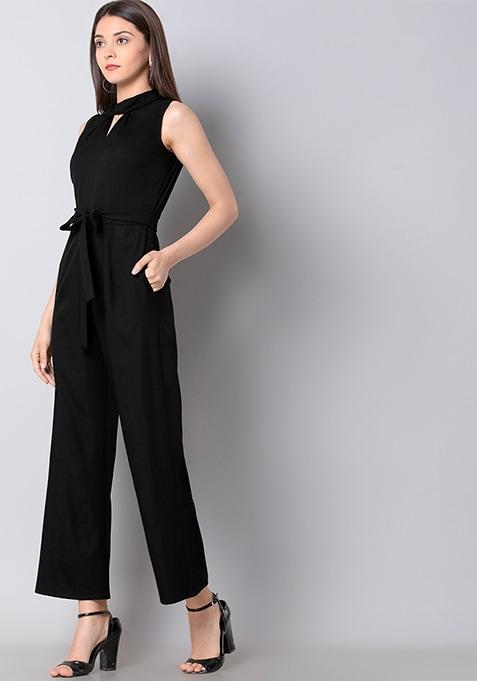 Black Belted Knotted Neck Jumpsuit