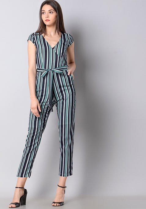 Navy Belted Striped Wrap Jumpsuit