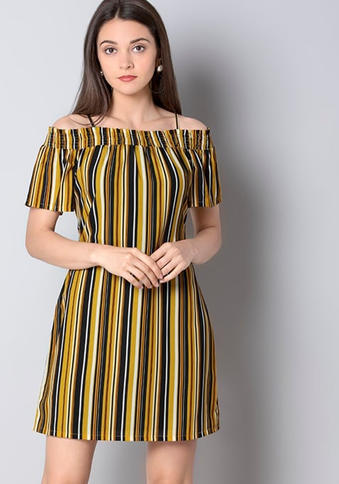Yellow Striped Strappy Off Shoulder Dress