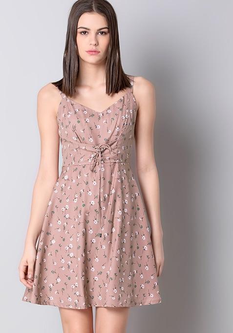 Pink Floral Corset Skater Dress