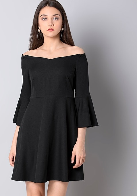 Black Bardot Bell Sleeve Dress