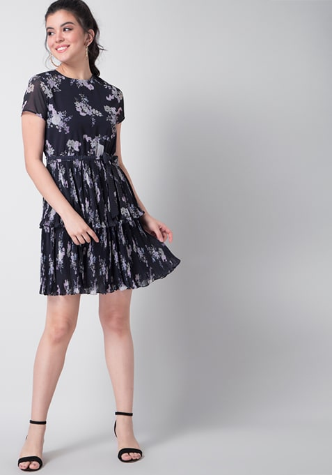 Navy Floral Tiered Pleated Belted Dress