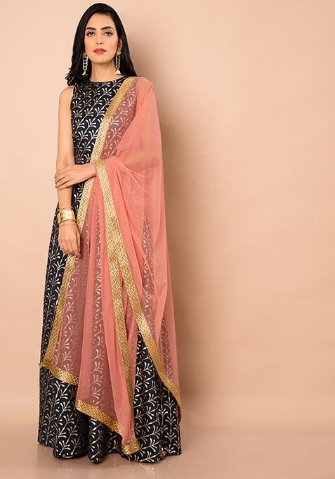 Net Dupatta With Gold Trim - Pink