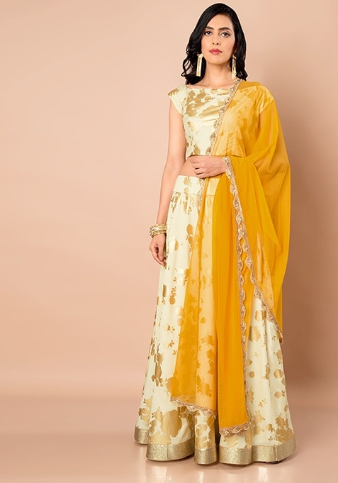 Net Dupatta With Scallop Trim - Mustard
