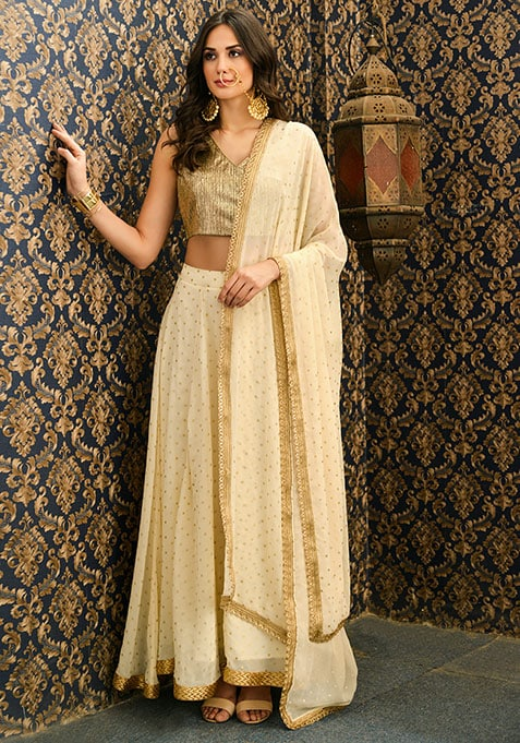 Ivory Dotted Gold Border Dupatta