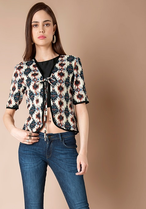 Cotton Jacket - Abstract Print