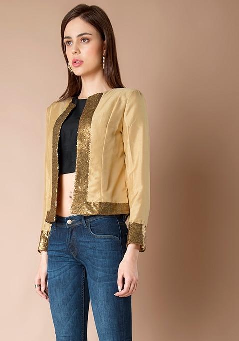 Sequin Border Silk Jacket - Gold