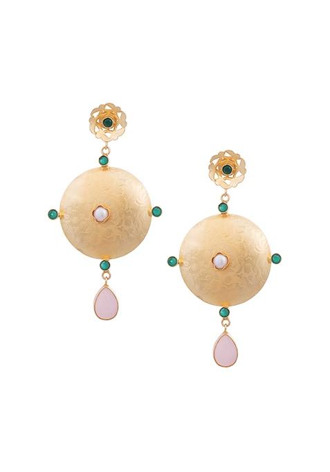 Gold Disc Stone Drop Earrings
